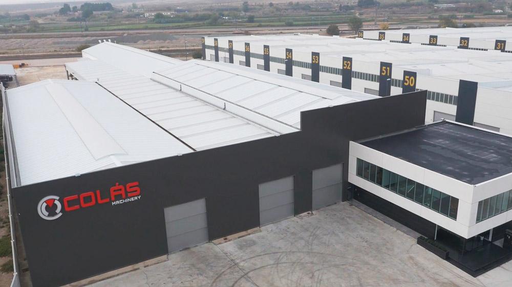 Vista aérea del almacén de Maquinaria Colás en Zaragoza